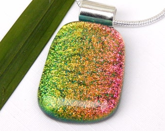Autumnal Colors Dichroic Glass Pendant - Fused Glass Jewelry - Red Copper and Gold Glass Necklace