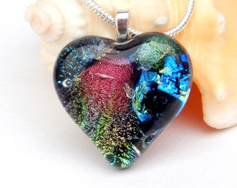 Multicolor Dichroic Glass Heart Pendant - Fused Glass Jewelry - Mixed Art Glass Necklace