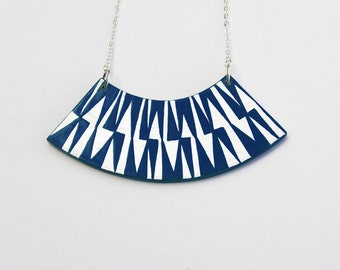 ZIG ZAG Necklace Milky Way Blue