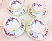 "Set of 4 Wedgwood ""Devon Spray"" Cream Soup Bowls with Saucers. Unused"