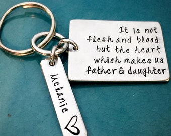 Father & Daughter, Hand Stamped, Step Dad, Keychain, Dad, Daddy Key Chain, Step Father, Stepdad, Fathers Day Gift, Gifts for Him, Daughter