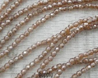 3mm Luster Smoky Topaz Round Czech Glass Beads - 2297 - Luster Smoky Topaz 3mm Round Beads - 50 Beads