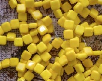 CzechMates Two Hole Tile Glass Beads - 25 beads - Opaque Yellow Czechmates 6mm Tile Beads - 1784