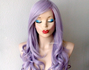 Pastel wig. Lace front wig. Ash Lavender Long curly hair Long side bangs wig. Durable Heat resistant wig for daytime use or Cosplay.