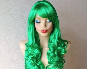 Irish Green wig. Long Curly  green hair wig. Irish green hair wig. Cosplay Custom Lolita wig.