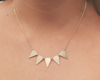 Gold Triangle Necklace Delicate Triangle Banner Necklace Tiny Minimalist Gold Necklace Five Little Triangle Gold Filled Jewelry.