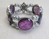 FEBRUARY SALE Amethyst and pearl bracelet stretch bracelet