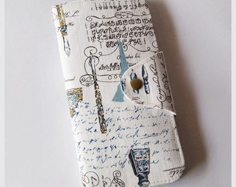 Long Passport Wallet, Passport Holder, Boarding Pass Case - Vintage Fountain Pen