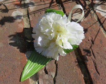 Cream Carnation Buttonhole or Boutonniere, Wedding or Event.
