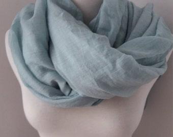 Turquoise cotton linen scarf