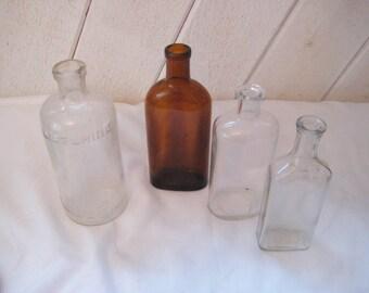 Antique medicine bottles, vintage bottles, collection of bottles, brown bottle, bud vases, country farmhouse decor, rustic decor, listerine