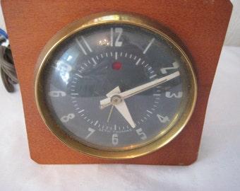 Vintage Seth Thomas alarm clock, wood plug in clock, electric clock, mid century modern, 1950s
