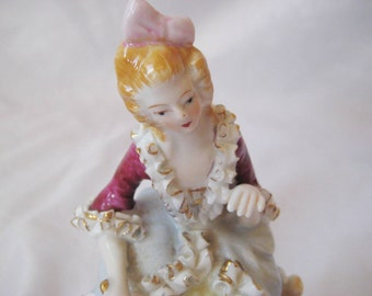 Vintage Victorion lady figurine, Beautiful ruby dress, ruffles and flowers, colllectible