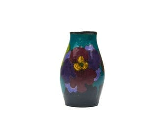 Gouda Pottery Small Floral Vase - #317 Made In Holland - B.O Ivora Gouda 1920s