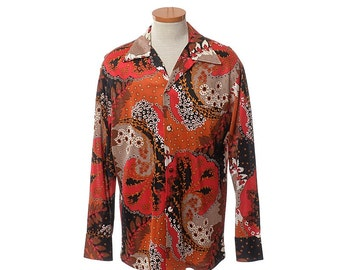 Vintage 70s Penneys Mod Hawaiian Shirt 1970s Op Art Abstract MCM Modern Print Hawaii Disco Party Mens Lounge Dress Shirt / X-Large