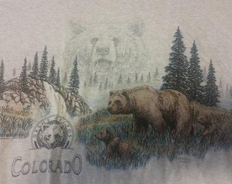 VINTAGE Colorodo Ursus Arctos Bear Sansegal Nature Forest Grey XL T Shirt