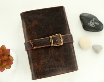 Aged Brown Leather Journal,  Travel Journal, A6, Pocket Leather Notebook,Blank Cream Paper, Sketchbook