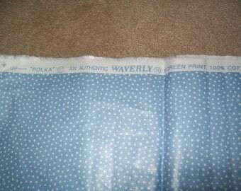 Waverly Polka Light Blue Polished / Chintz 100% Cotton Fabric 3 3/4 Yard Mint Condition