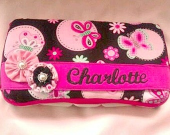 Pink and Black Butterfly Decorated Diaper Wipes Case with Baby's Name