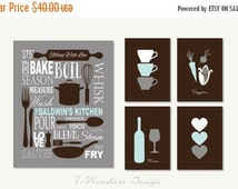 "ON SALE Personalized Kitchen Art Subway Style with Cups and Hearts Prints - Set of (5) - 5"" x 7's"" and 11"" x 14"" // Modern Kitchen Art Decor"