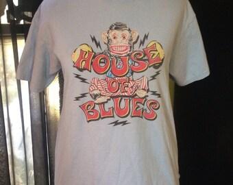 Vtg 90s House Of Blues Cymbal Monkey T Shirt Pale Blue