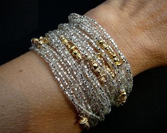 Multi Wrap Bracelet,Long Beaded Wrap Bracelet,Silver Wrap Necklace,Gold Jewelry,Silver Jewelry,Silver Gold Jewelry,Handmade Wrap Necklace