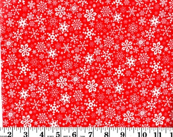 1 Yard, White Snowflakes on Red