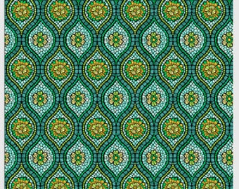 Art Glass by P&B textiles designed by Rose Ann Cook 817-B frosted glass teal lime gold blue green 100% Cotton sewing quilting