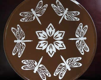 Dragonfly Circle Acid Etched Mirror