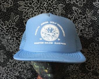 Vintage Baby Blue Trucker Snapback Baseball Cap. Retro Mesh Back Golf Tournament 80s Baseball Cap. Hipster 80s Ironic Golf Mesh Cap