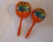 Vintage Maracas Hand Painted Souvenir of Mexico Wooden Percussion Instruments 60's Bright Shiney Orange