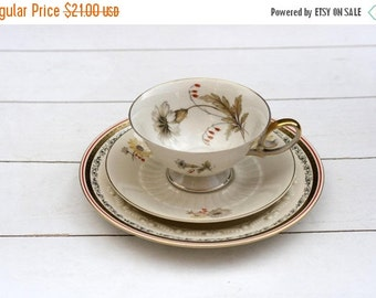 SALE Mismatched Vintage German Teacup and Saucer Trio Set- Grey Floral with Orange and Gold  #303