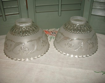 2 vintage frosted glass lampshades. Light, lighting, lamp, lighting.