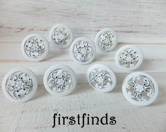8 White Knobs Shabby Chic Pulls Drawer Mini Peacock Handle Kitchen Hardware Painted Cabinet Metal Door Cupboard Furniture ITEM DETAILS BELOW