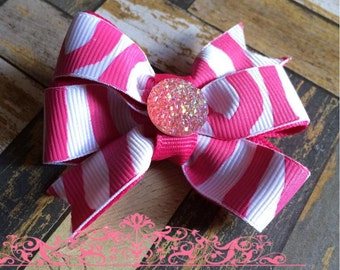 Pink and White Zebra Stripe Hair Bow