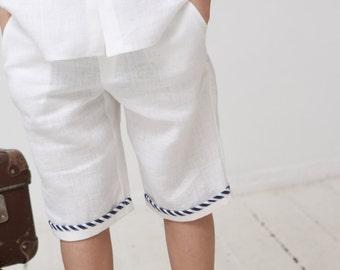 Boys shorts Toddler boy linen pants Natural linen shorts Boys trousers Summer clothes Boys clothing Ring bearer shorts Family photo Baptism