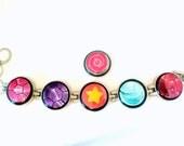 Steven Universe Bracelet // Five Bezel Magnetic Bracelet with six Steven Universe charms // Steven Universe Jewelry