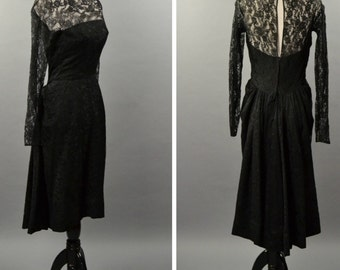 Exquisite Lacy Black 1950s Firmsl Dress