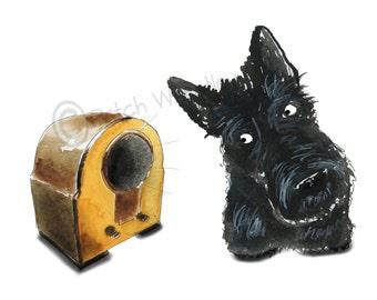 Scottish Terrier Dog Art Print Scottie Dog 'Vintage Radio' #113