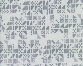 Cotton + Steel Tiny Tiles Dove by Alexia Abegg Clover - Cotton - Gray and White - Geometric Fabric Triangles Squares Dove Gray Fabric