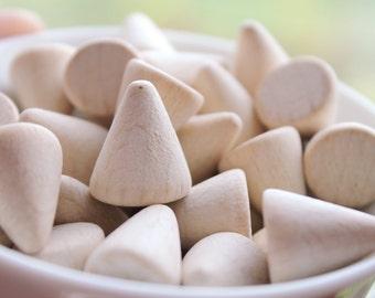 Wooden cones 17x12 mm 25 pcs - eco friendly