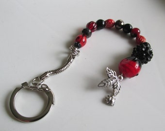 Beaded Keychain, Ladybug Key Chain