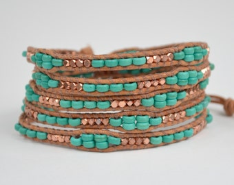 Turquoise and Copper Five Wrap Bracelet