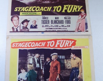 Lot of 2 Antique Western Stagecoach To Fury Movie Lobby Poster Card, 1956, Forrest Tucker, Mari Blanchard, Cowboy Film
