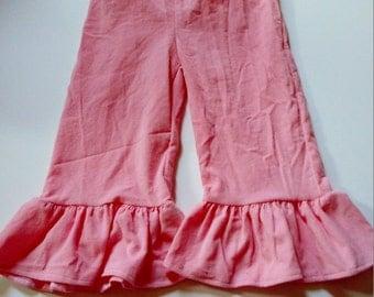 Pink Corduroy Ruffle Pants Ready to Ship