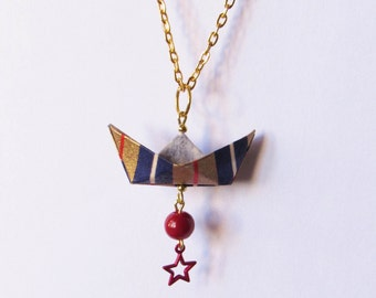 Origami paper boat necklace //SALE -15% // Jewelry . Paperboat . Paper . Geometric . Strip . Blue . Red . Sailor