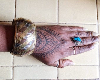 Vintage Brass Copper Woven Metal Bracelet (Medium)
