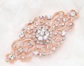 Light Gold/Rose Gold Wedding brooch, Gold applique, Silver applique, Wedding buckle, Crsytal buckle,Rhinestone applique - Nothing at back