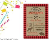 Lil' Lumberjack Invitation | Baby Shower | Printable Editable Digital PDF File | Instant Download | BSI107DIY