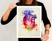"Watercolor Heart, 11"" x 14"", Anatomy Medical print, Registered Nurse Gift, Nurse Graduation gift, Watercolor Splatter art, Anatomy Heart Art"